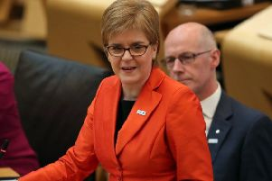 First Minister Nicola Sturgeon during First Minister's Questions at the Scottish Parliament. Picture: Jane Barlow/PA Wire