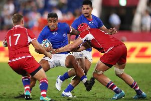 Rey Lee-Lo in action for Samoa against Russia. Picture: Cameron Spencer/Getty Images