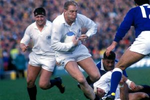 Derek White drives forward during the 1991 World Cup quarter-final win over Western Samoa at Murrayfield. Picture: SNS