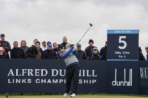 Richie Ramsay tees off at the fifth on his way to tenth place. Picture: SNS.