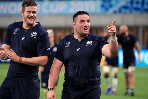 Scott Cummings (left) and Zander Fagerson are all smiles after victory over Samoa in Kobe