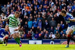 Jonny Hayes scores for Celtic against Rangers in the last Glasgow derby. Picture: SNS
