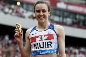 Laura Muir was injured at the Anniversary Games in London. Picture: Ian Kington/AFP/Getty