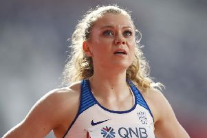 Beth Dobbin looks up to the scoreboard after her third place in the women's 200 metre heats was enough to secure a semi-final place. Picture: Maja Hitij/Getty