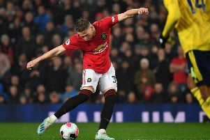 Scott McTominay scores Manchester United's goal against Arsenal at Old Trafford. Picture: Paul Ellis/AFP/Getty