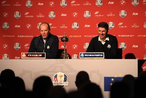 European captain Padraig Harrington, right, and United States skipper Steve Stricker speak to the media at Whistling Straits. Picture: Andrew Redington/Getty Images
