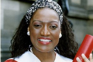 Legendary soprano Jessye Norman pictured after receiving an honorary degree from Edinburgh University in 1991
