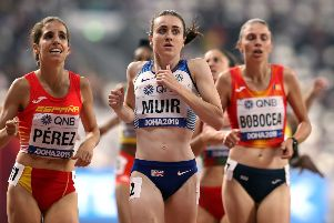 Great Britain's Laura Muir in action on her way to qualifying third from her 1,500m heat at the IAAF World Championships in Doha, Qatar. Picture: Martin Rickett/PA