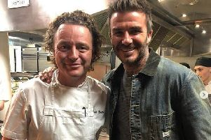 David Beckham posed for a picture with Tom Kitchin PIC: @TomKitchin