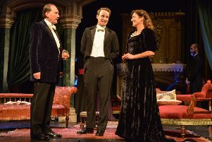 Mark Meadows as Lord Illingworth, Tim Gibson as Gerald Arbuthnot and Katy Stephens as Mrs Arbuthnot