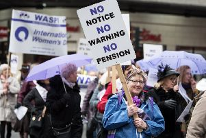 Women caught in limbo by a change to the retirement age protest in Glasgow (Picture: John Devlin)