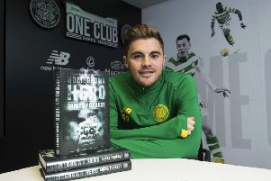 Celtic's James Forrest promotes his biography 'Homegrown Hero', which is due to be published in December. Picture: SNS.
