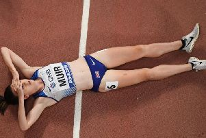 Laura Muir is flat out after an extremely fast 1500m final. Picture: Antonin Thuillier/AFP via Getty Images
