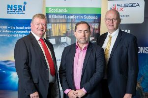 L- R: Tony Laing of NSRI, David Rennie of Scottish Enterprise and Neil Gordon of Subsea UK. Picture: Contributed