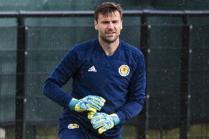 Scotland goalkeeper David Marshall during a training session at Oriam. Picture: Paul Devlin/SNS