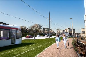 Artist's impression of the tram extension to Newhaven