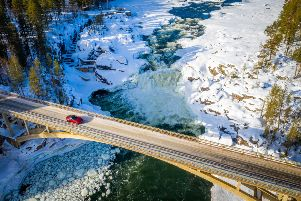 Navigating an icy bridge across a frozen river, Mazda Arctic Circle Drive. Picture: Lisa Young