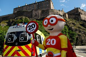 20mph mascot The Reducer launches the policy in 2016. Picture: Scott Louden