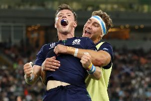 George Horne and Jamie Ritchie will hope they will be celebrating another Scotland win. Picture: Mike Hewitt/Getty Images