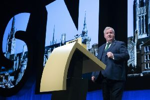 Westminster leader Ian Blackford MP delivers his address at the opening of the 2019 SNP autumn conference. Picture: PA