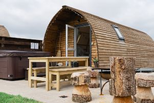 One of the 'luxury' pods at Wigwam Holiday's Wigtown site