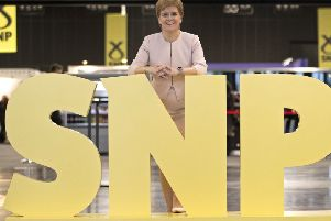 First Minister Nicola Sturgeon visits the trade stands at the 2019 SNP autumn conference in Aberdeen (Picture: Jane Barlow/PA Wire)