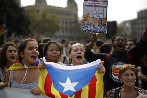 The arrests sparked protests in Catalan capital Barcelona. Picture: AP