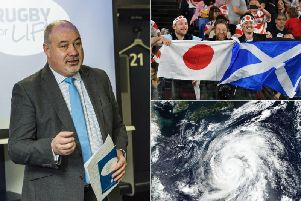 SRU chief Mark Dodson (left), fans at the Japan-Scotland clash and a satellite image of Typhoon Hagibis