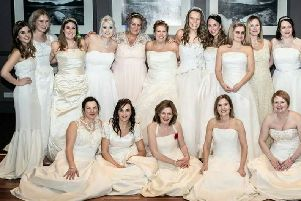 Lorraine seen on the left is  pictured with other brides at a previous event
