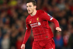 Scotland captain Andy Robertson will be back in the red of Liverpool as they take on Man Utd. Picture: Clive Brunskill/Getty