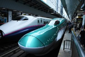 Long-distance Shinkansen bullet trains at Tokyo station. Picture: Charly Triballeau/AFP via Getty Images