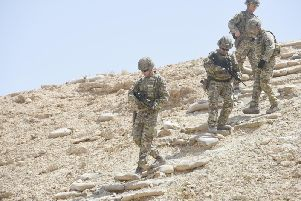 Soldiers from the Black Watch, Royal Regiment of Scotland, at Al Asad base in 2018.