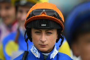 Scots jockey Nicola Currie in her silks as she prepares for a race at Bath Racecourse in May. Picture: Harry Trump/Getty