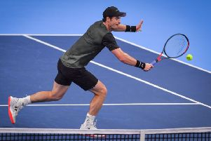 Andy Murray plays a backhand volley during his straight-sets win over Uruguay's Pablo Cuevas at the European Open in Antwerp. Picture: Luc Claessen/BELGA/AFP
