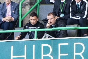 Graeme Mathie, right, alongside Hibernian manager Paul Heckingbottom. Picture: Bill Murray/SNS