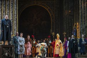 Roland Wood, left, is a terrifying Scarpia; the whole cast vocally exhilaring in Scottish Opera's Tosca