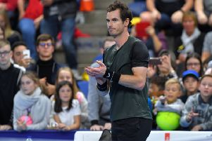 Delighted but low-key, Andy Murray reacts to his victory over Marius Copil in the  quarter-final of the European Open in Antwerp last night. Picture: AFP/Getty.