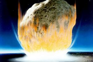 The dinosaurs and three quarters of all plants and animals died out after an asteroid hit earth 66 million years ago
