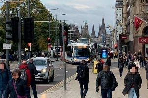 The collision in Princes Street this morning. Pic: Jaqi/Twitter