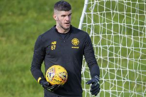 Fraser Forster during a Celtic training session. Picture: Bill Murray/SNS