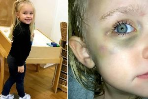 """Lisa Roberts, 28, claims three-year-old Connie-Mae Sherratt """"could have died"""" after she became pinned underneath the bookcase when she was left unattended. Picture: SWNS"""