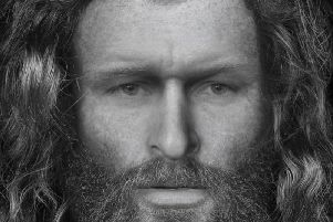 Facial reconstruction of 'Rosemarkie Man' who was found buried in a Highland cave. New tests have suggested the high-status figure may have had links to Orkney. PIC: Dundee University.