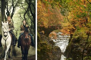Outlander film crews have been shooting at one of Scotland's most lovely autumnal beauty spots, The Hermitage at Dunkeld. It is not known which stars of the shows were involve in the shoot. PIC: Starz/Sony Entertainment/Creative Commons/Stuart Anthony.