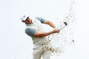 Oliver Fisher plays a bunker shot during the pro-am at the Portugal Masters. Picture: Harry Trump/Getty