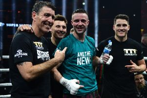 Terry McCormack, left, with Josh Taylor after his victory over Ivan Baranchyk in May. Picture: Mark Runnacles/Getty Images
