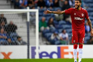 Rangers centre-back Connor Goldson during his side's clash with Lazio.