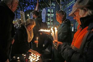 A vigil takes place outside the Home Office in London for the 39 people found dead inside a lorry in Essex. (Picture: Hollie Adams/PA Wire)