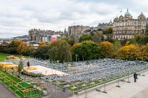 The scaffolding for the Christmas Market.