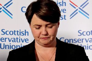 Davidson at a press conference following her resignation as leader of the Scottish Conservatives in August. Photograph: Jane Barlow/PA