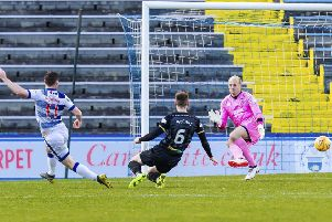 Morton's Bob McHugh scores the goal to make it 2-1 against Inverness Caledonian Thistle. Picture: Roddy Scott/SNS